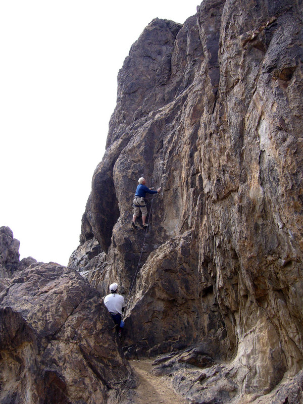 """Tony leading the Dihedral (5.9). Photo by <a href=""""http://grahamcracker.myphotoalbum.com/albums.php"""" target=""""_blank"""">Rick Graham</a>."""