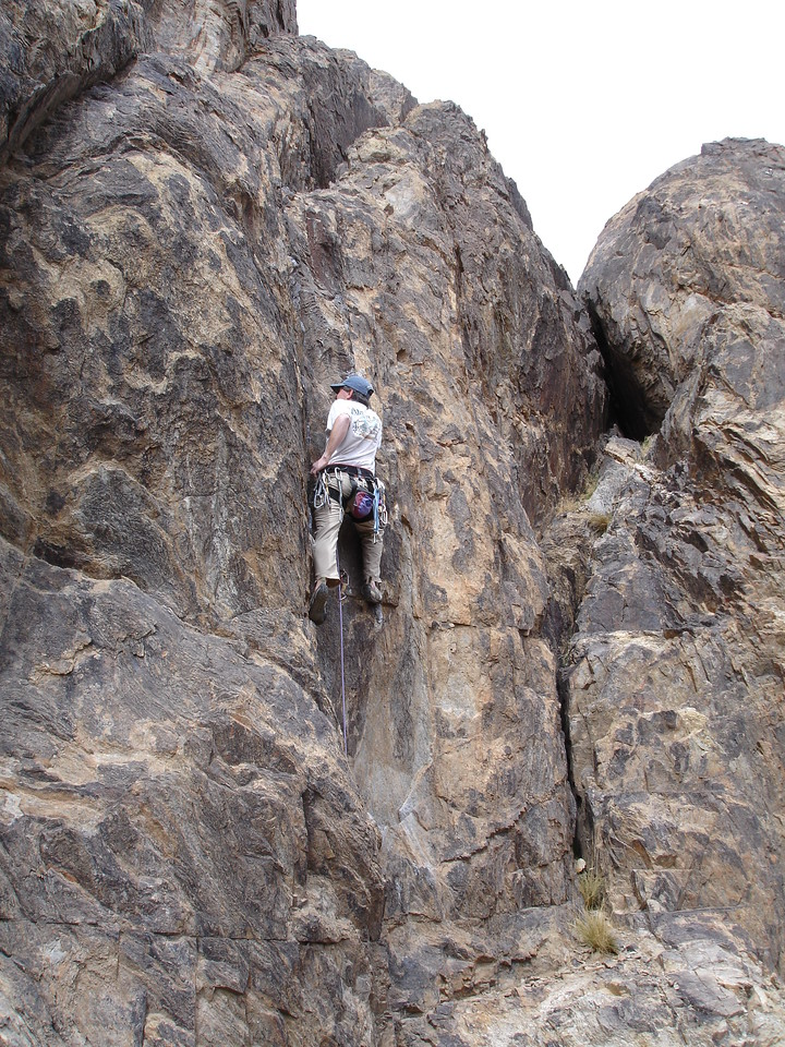 Brian leading this sweet dihedral, our last climb of the day.