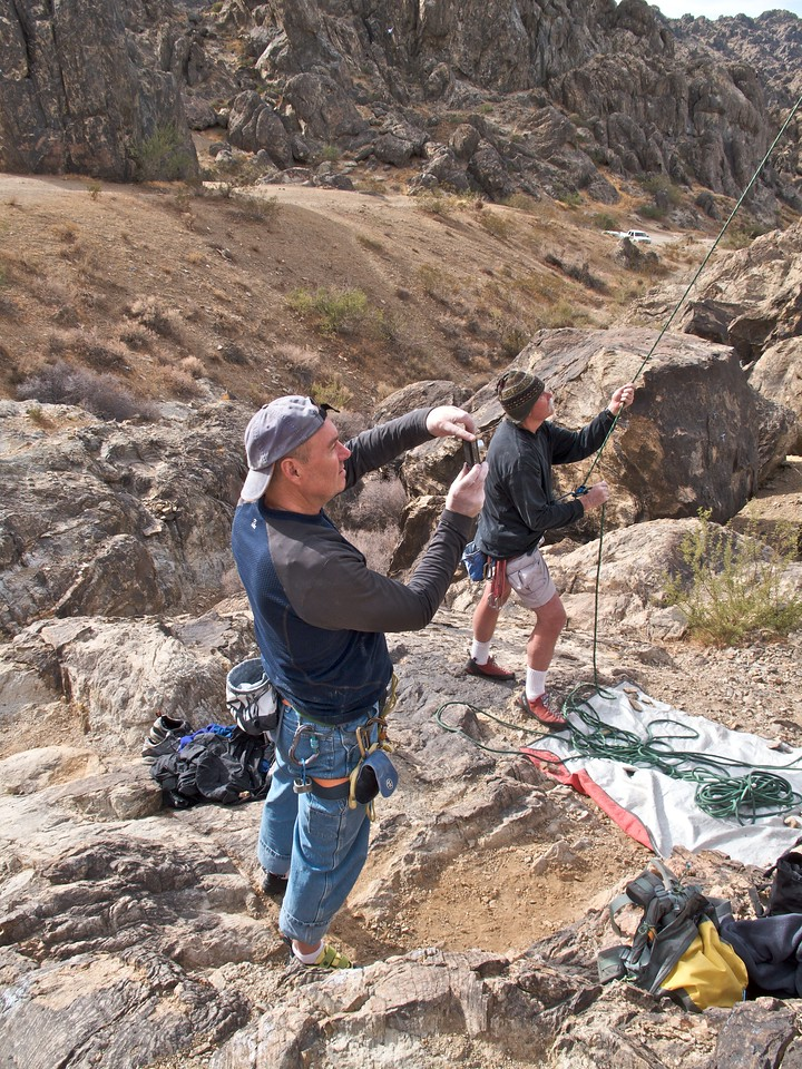 Rick taking a picture and Joe belaying.