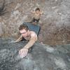 Me climbing at Rocher Canon (Photo Rose Pearson)