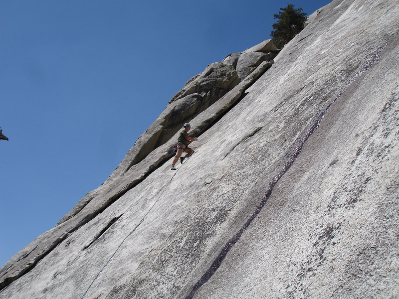 Rick on the first pitch of Serpentine 5.9, Weeping Wall, Suicide Rock.