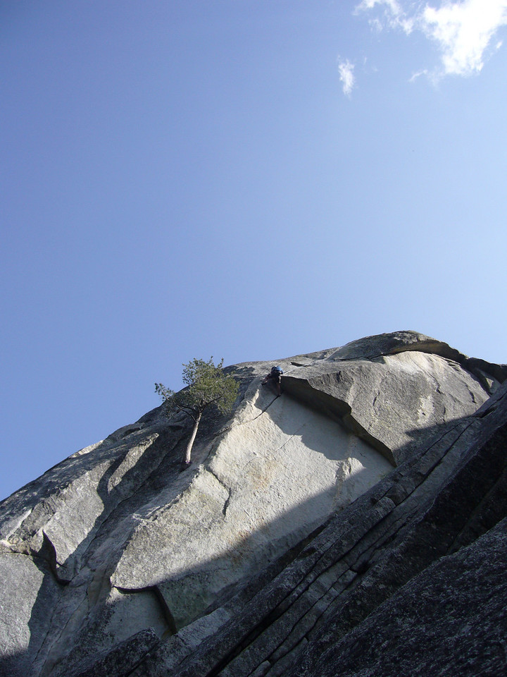 Tony pulling the roof on Flower of High Rank 5.9 Suicide Rock.