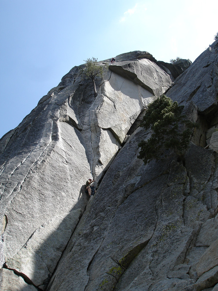 Rick belaying Marty on Flower of High Rank 5.9 Suicide Rock.