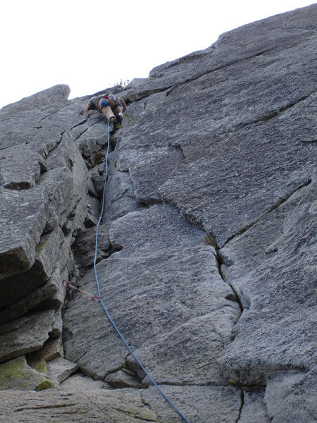 Rick nearing the belay point on the first pitch of Graham Cracker 5.6 Suicide Rock.