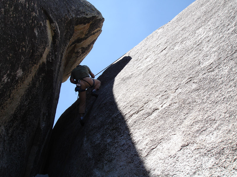Rick rapping down By Gully after finishing Serpentine 5.9 Weeping Wall, Suicide Rock.