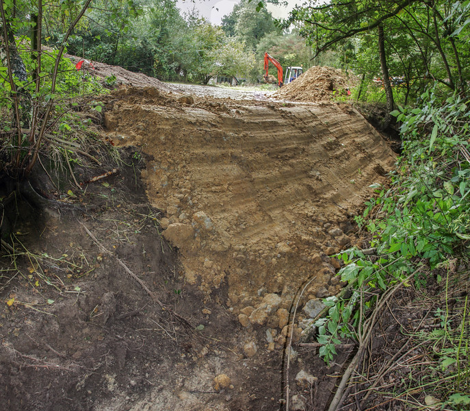 The excavated  loamy soil will also be used for an Kingfisher- wall
