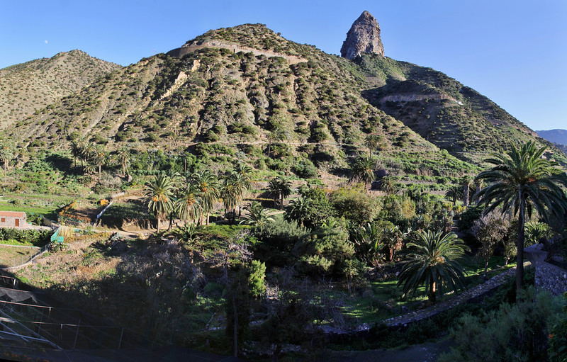 Jardin Botanico del Descubrimiento with Roque El Cano, N of Vallehermoso