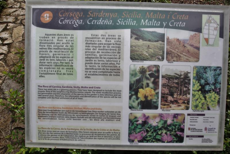 Sign of the islands Creete, Corsica, Malta, Sicily, Gardi Botanice de Sóller,