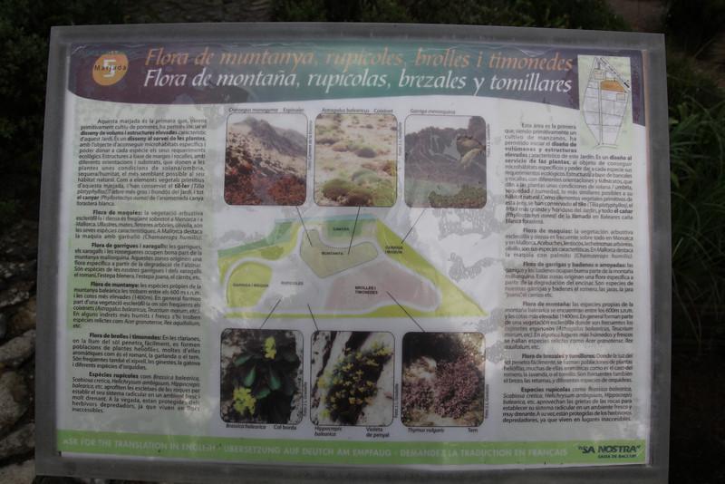 Sign of the mountain flora, Gardi Botanice de Sóller,