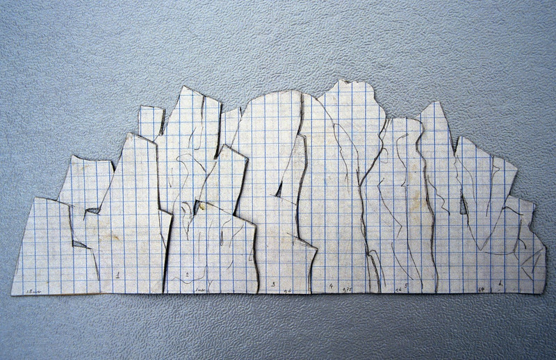 drawing to scale of the tufa wall, it contains 6 pieces (construction rock garden 1991)