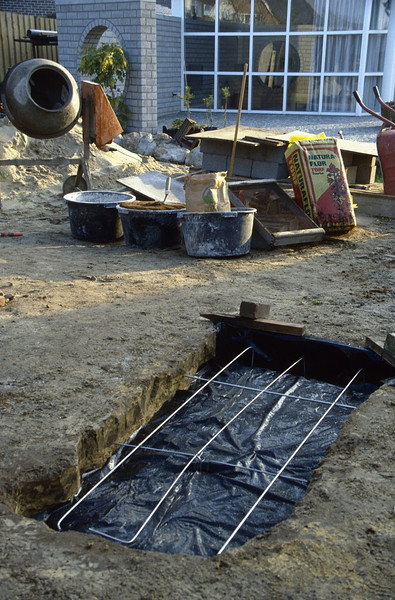 preparation concrete casting (construction rock garden 1991)