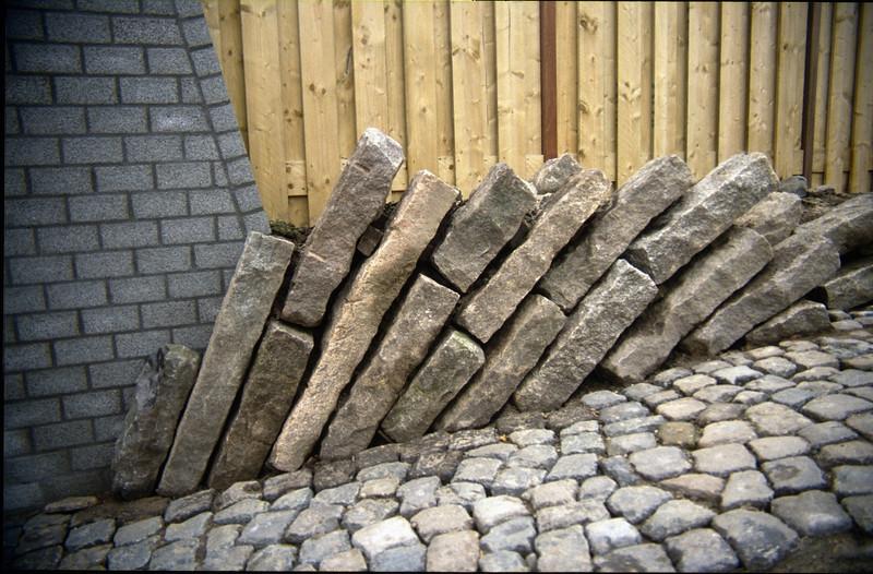 curbstones holding the ground pressure (construction rock garden 1992)