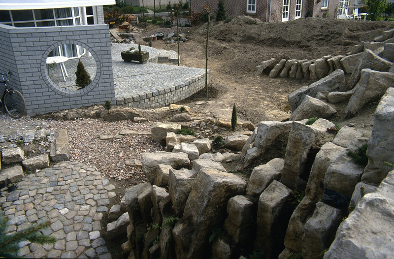 Terraces, view from above the entrance of the shed ( construction rockgarden 1992   )