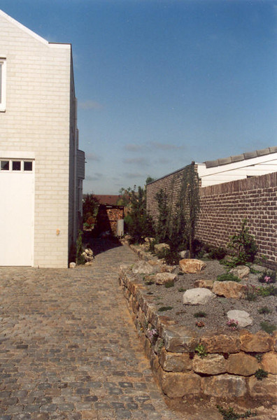 cobbles pavement and raised bed (construction rock garden 1992)