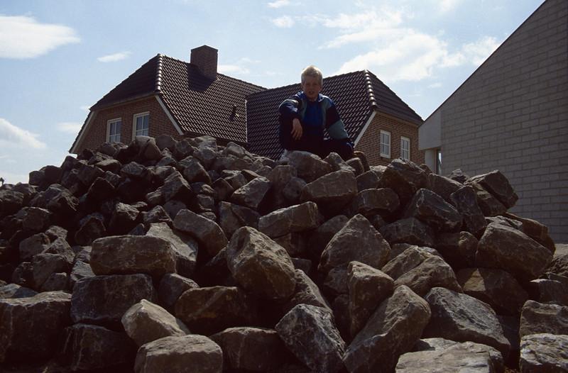 cobbles and Jeroen, depot of paving materials ( construction rockgarden 1992)