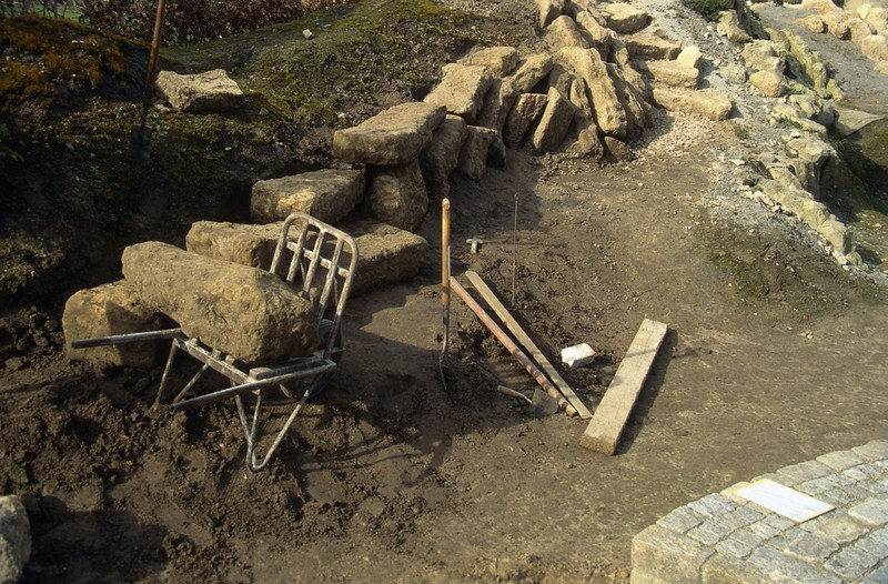 placing of  the rocks in the rock garden ( construction rockgarden 1992   )