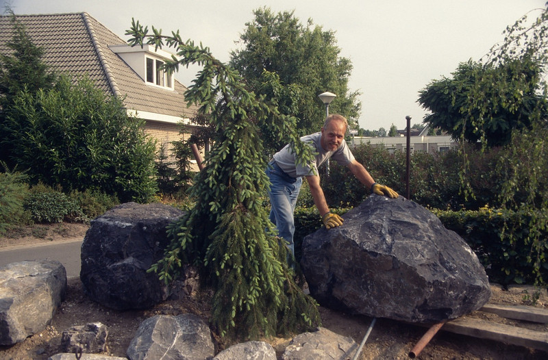 Wrestling with a rock (construction rockgarden 1993)