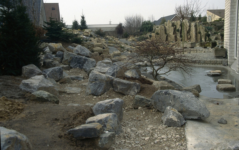 the second pond with rainwater-flow area (  construction rockgarden 1992)