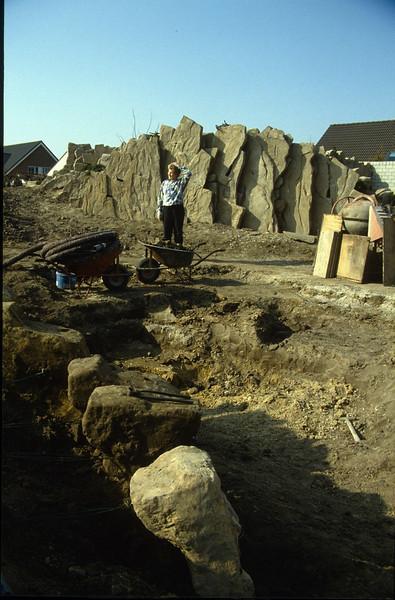 casting hypertufa rocks in holes in the ground (construction rockgarden 1992)