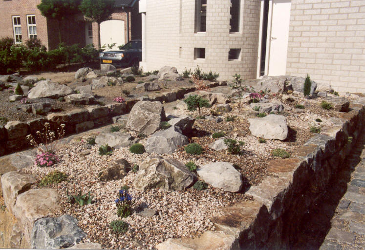 raised bed on the East side of the house, the Saxifraga-garden (construction rockgarden 1992)