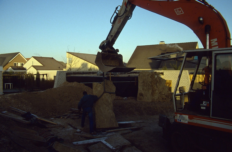 to connect to the roof of the shed (construction rock garden 1991)