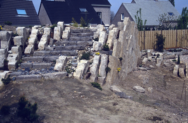 the stairs to reach the roof (construction rock garden 1991)