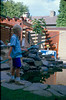 Jeroen fishing in the pond (gardenpond summer1988)