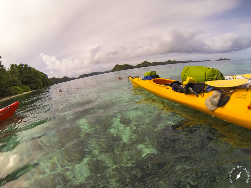 Back on the road snorkeling with fully loaded kayaks