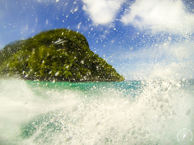 Spray from Boat Navigating through the Rock Islands in Palau