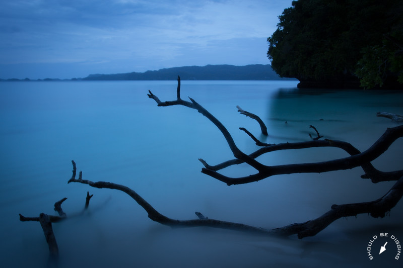 Last light on the lagoon, Rock Islands, Palau