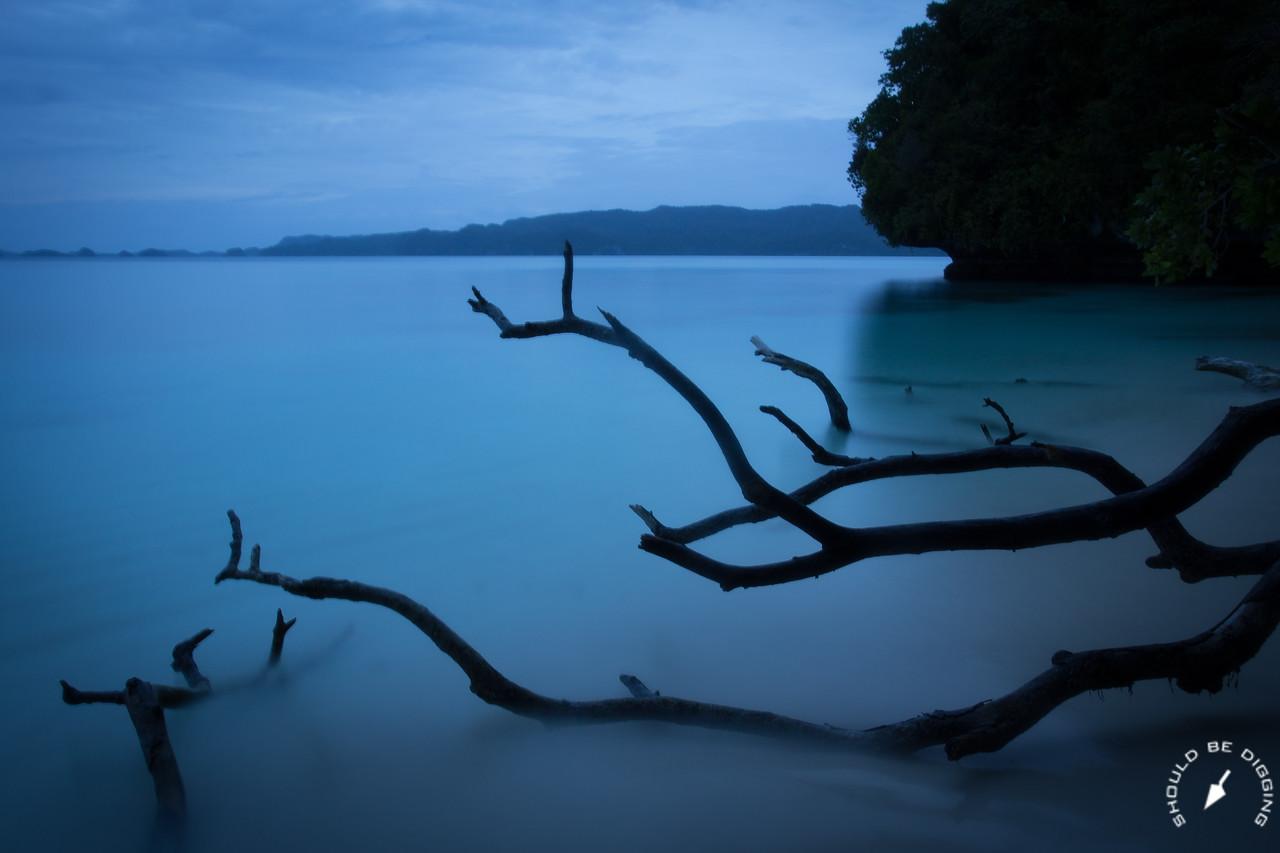 Last light on the lagoon, Rock Islands, Palau