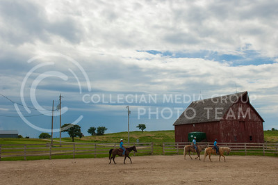 Rock Springs 4-H Center staff practice riding horses at the center in Junction City, Kan. July 3, 2017. The 4-H Center is a camp, conference and retreat that includes more than 700 acres in the Kansas Flint Hills and is run by the Kansas 4-H Foundation.(Justin Wright | The Collegian)