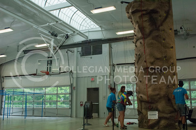 Rock Springs 4-H Center staff set up a climbing wall at the center in Junction City, Kan. July 3, 2017. The 4-H Center is a camp, conference and retreat that includes more than 700 acres in the Kansas Flint Hills and is run by the Kansas 4-H Foundation.(Justin Wright | The Collegian)