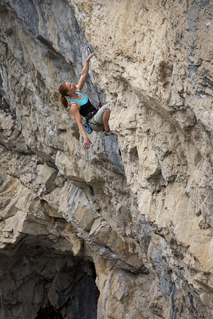 "Kirsten Anderson enjoying the big holds of ""After Dark"" 5.11b, the extension of this route makes a fine 40m 5.12c"