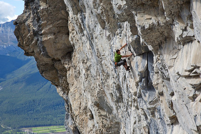 """the """"Atlantis"""" sector offers 20 routes from 5.10 to 5.14, 700m above the valley floor"""