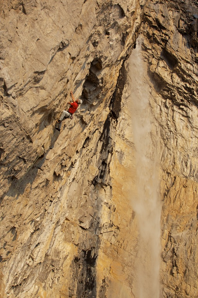 """""""The Journey"""" is a 40m 13c and the closest route besides the rushing waterfall"""