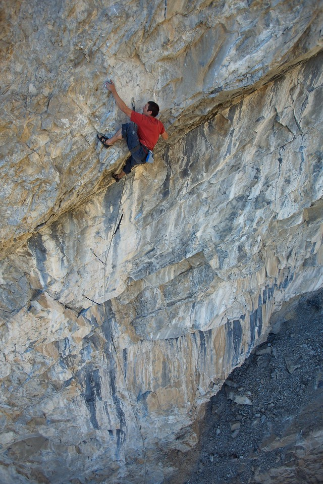 """A few feet short of the mid anchors of """"Buffet Royale"""" 12b, but don't let those anchors stop you to explore the intricate upper part, it's well worth the effort for this unique route."""
