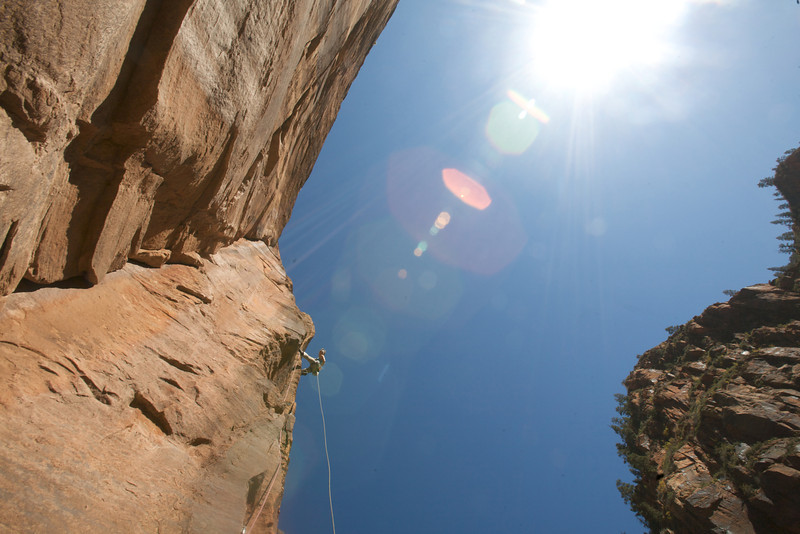 """The steep and bolted arete on the 5th pitch of """"Freak Show"""""""