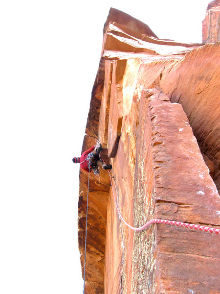 """starting out the 7th pitch of """"Shune's Buttress"""" on Red Arch Mountain"""