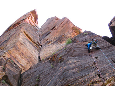 """The right variation low on """"Shune's Buttress"""" with the upper pitches looming above."""