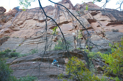 """after a very cold river crossing, a scary and sandy slab pitch gives access to the upper part of """"Freak Show"""""""