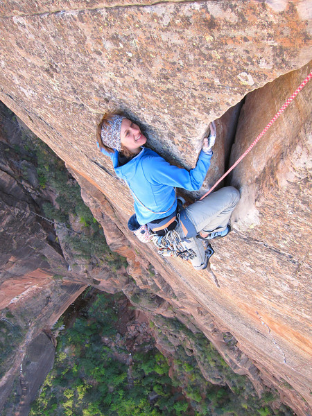 """lay back or off with? The final moves on pitch 7 of """"Shune's Buttress"""""""