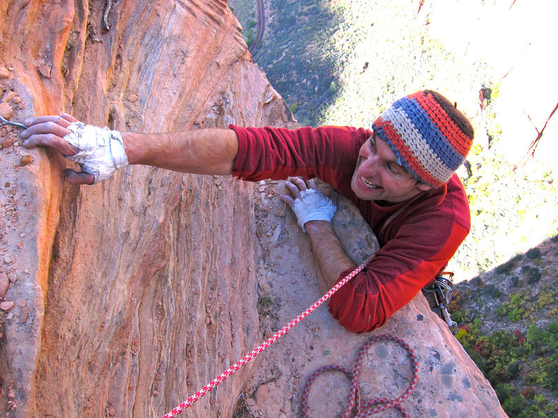 """A typical top out in Zion, reaching the rim on """"Shunes Buttres"""""""