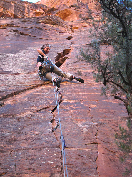 """A great 50m long pitch above the tunnel called """"Boring Crack"""", rated 5.10, but felt like 5.11. The park Ranger controlling the tunnel traffic told us we were the first climbers she saw on this route, we thought it's a classic."""