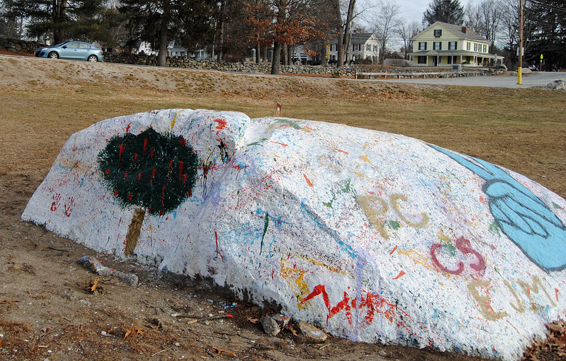 NASHOBA VALLEY VOICE/ANNE O'CONNOR<br /> After a rock in front of Bromfield School in Harvard was defaced, students painted over them with images of peace and an apple tree, along with the year of the graduating class.