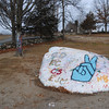NASHOBA VALLEY VOICE/ANNE O'CONNOR<br /> After a rock in front of Bromfield School in Harvard was defaced, students painted over them with images of peace along with the year of the graduating class.