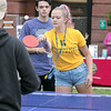 The annual Fitchburg State University Rock the Block is an event to showcase student clubs and campus organizations along with some off campus local jobs students could apply for for extra money. Playing some ping pong with friends at the Rock the Block is Freshman Kylli Wade from Fitchburg. SENTINEL & ENTERPRISE/JOHN LOVE