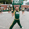 The annual Fitchburg State University Rock the Block is an event to showcase student clubs and campus organizations along with some off campus local jobs students could apply for for extra money. Cheerleader senior Nicholas Monsalve from Holyoke helps entertain the crowd at the Rock the Block. SENTINEL & ENTERPRISE/JOHN LOVE