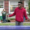 The annual Fitchburg State University Rock the Block is an event to showcase student clubs and campus organizations along with some off campus local jobs students could apply for for extra money. Playing some ping pong with friends at the Rock the Block is Freshman cob Hawthorne from Peabody. SENTINEL & ENTERPRISE/JOHN LOVE