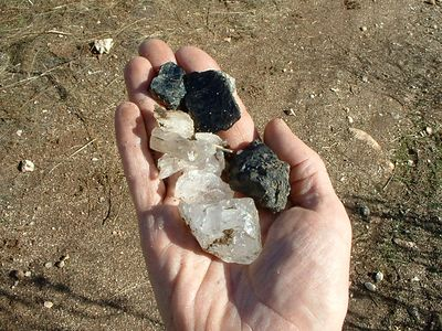 Quartz, Biotite, & Schorl, Southern Pacific Silica Quarry, Lakeview Mountains, 26 Dec 2003